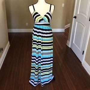 Striped maternity and nursing maxi dress, size S